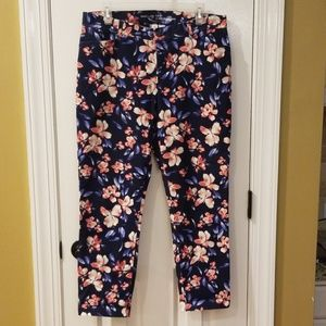 Khakis by Gap Slim City Navy Blue & Pink floral